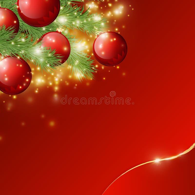 Czerwony błyszczący tło z Bożenarodzeniowymi dekoracjami, dekoracyjnymi świerczyn gałąź, złotymi gwiazdami, wakacyjnym Wesoło Mas royalty ilustracja