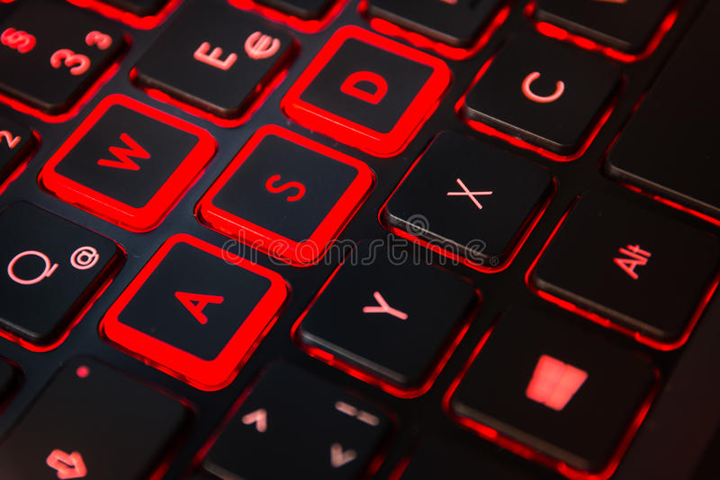 Czerwony Backlit Komputerowego hazardu akci Gamer Klawiaturowy wyposażenie Cont obraz stock