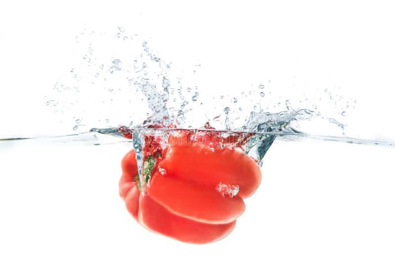 Czerwony bellpepper opuszczający w wodę z wodnym pluśnięciem na whi fotografia stock