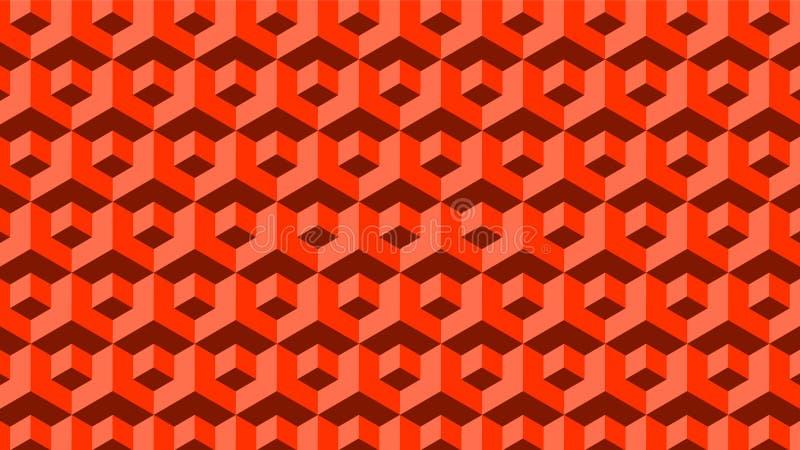 Czerwony Bezszwowy Geometryczny bloku wzór fotografia stock