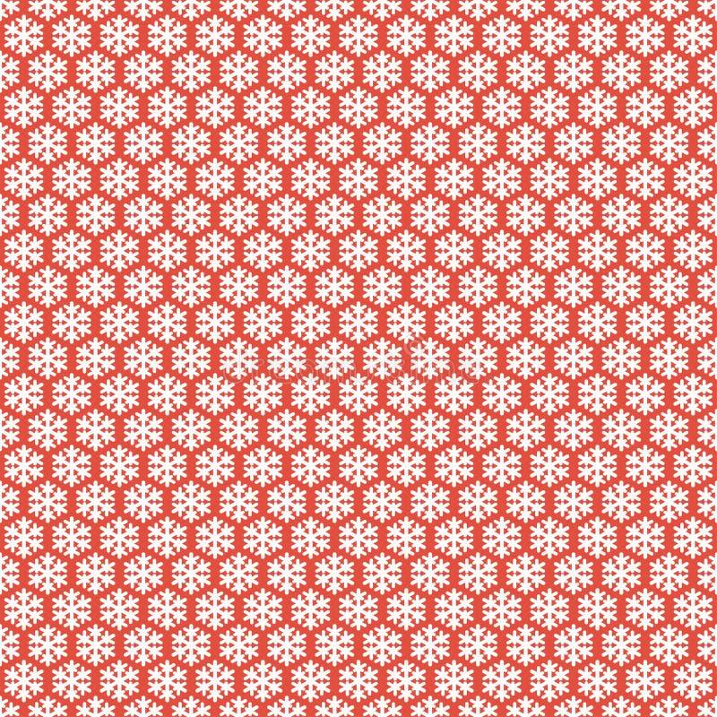 Czerwony bezszwowy płatka śniegu wzór Wektorowy śnieg ilustracja wektor