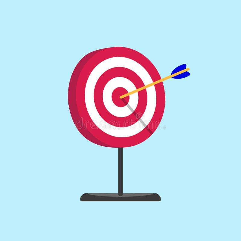 Czerwony biały cel z stojak bazą i strzała w bullseye z ciężkim cieniem na nim ilustracja wektor