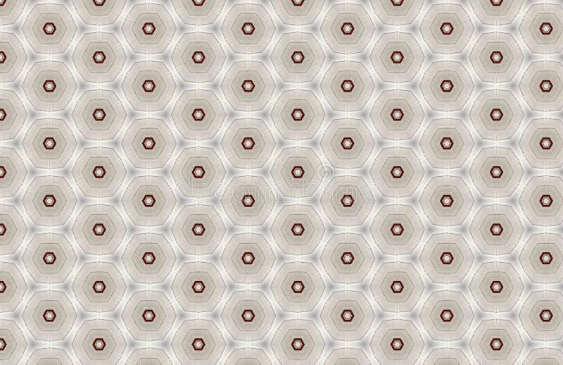 Czerwony Biały Geometryczny sześciokąta wzoru projekt royalty ilustracja