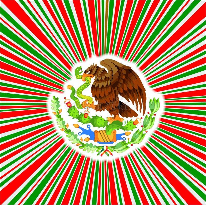 Czerwony Biały I Zielony promienia tło Z Meksykańskiej flagi ikoną ilustracji