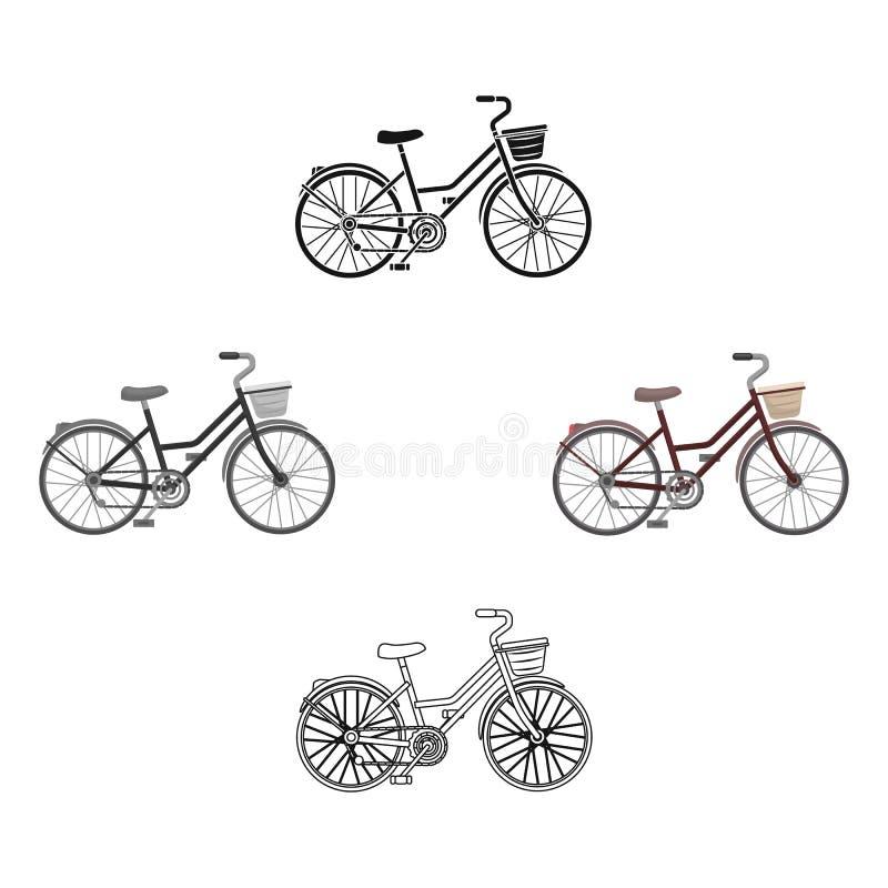 Czerwony bicykl z ko?ami i koszem ?yczliwy transport Różnego bicyklu pojedyncza ikona w kreskówce, czerń styl royalty ilustracja