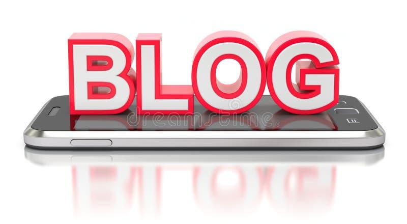 Czerwony blog na telefonie komórkowym royalty ilustracja