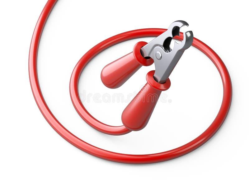 Czerwony bluza kabel dla samochodowej baterii Źródło zasilania drut ilustracji