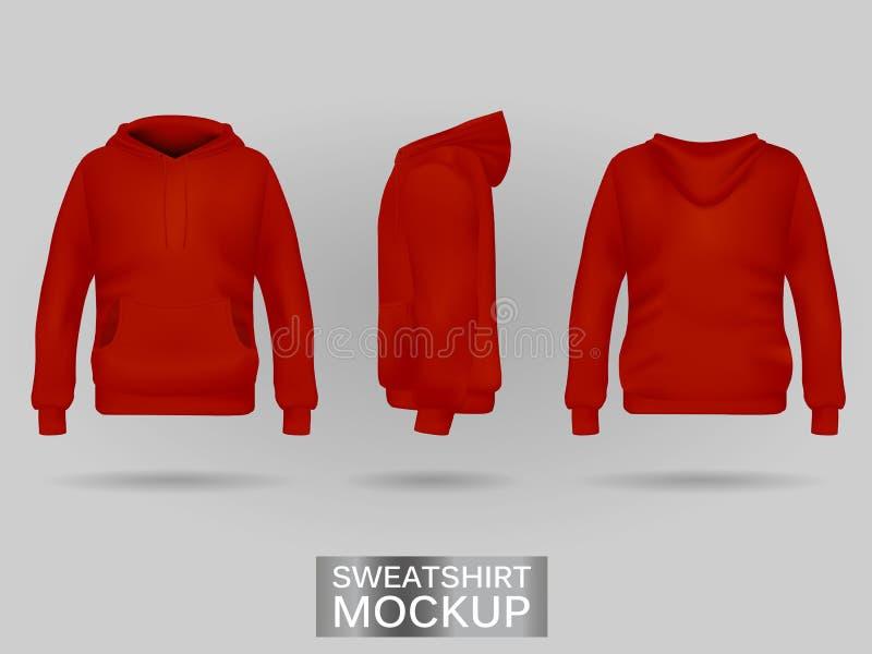 Czerwony bluzy sportowa hoodie bez zamka błyskawicznego szablonu w trzy wymiarach zdjęcia stock
