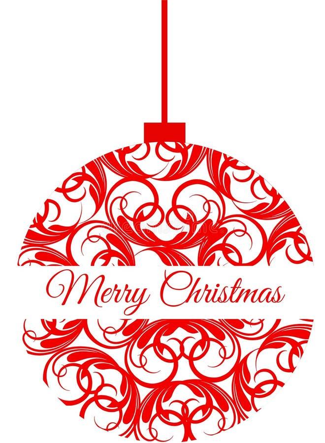 Czerwony boże narodzenie ornament który mówi Wesoło boże narodzenia zdjęcie royalty free