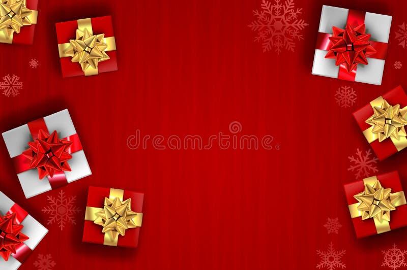 Czerwony bożego narodzenia tło - prezenty i płatki śniegu obrazy stock