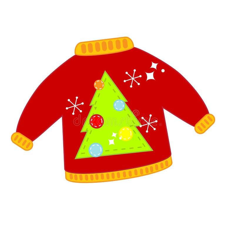 Czerwony Bożenarodzeniowy brzydki pulower Odosobniona klamerki sztuka, ikona ilustracja wektor