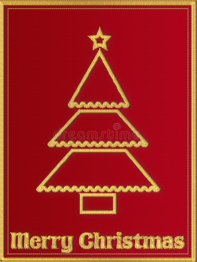 Czerwony Bożenarodzeniowy kartka z pozdrowieniami z broderią ilustracja wektor