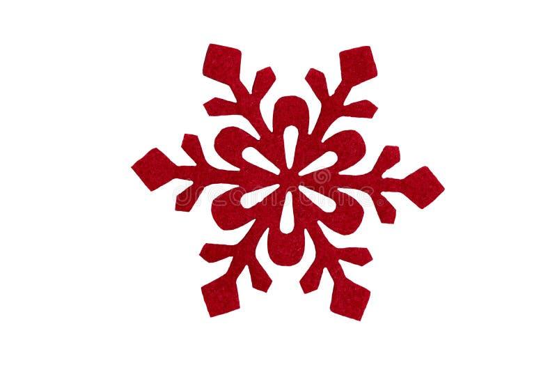 Czerwony Bożenarodzeniowy płatek śniegu Odizolowywający na bielu Projekta element dla c zdjęcia royalty free
