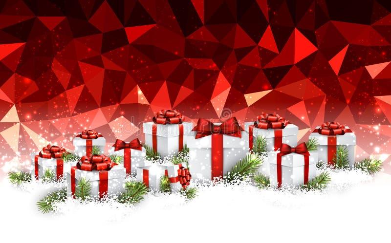 Czerwony Bożenarodzeniowy tło z prezentami ilustracji