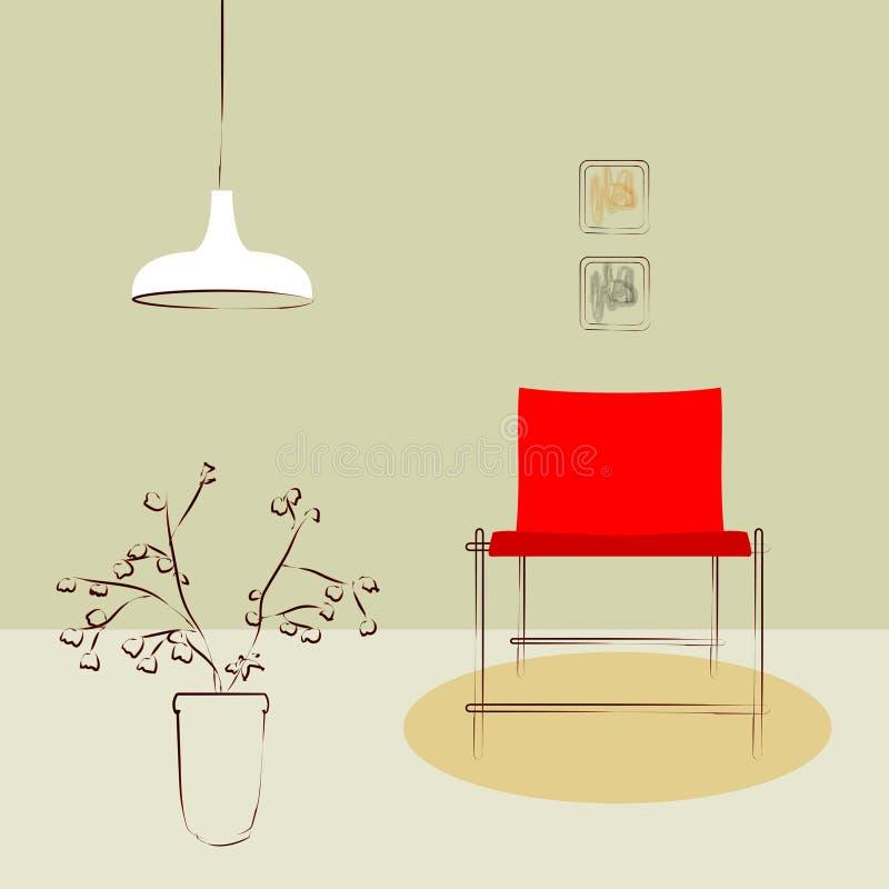 Czerwony boczny krzesło royalty ilustracja