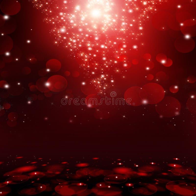Czerwony bokeh zaświeca tło ilustracja wektor