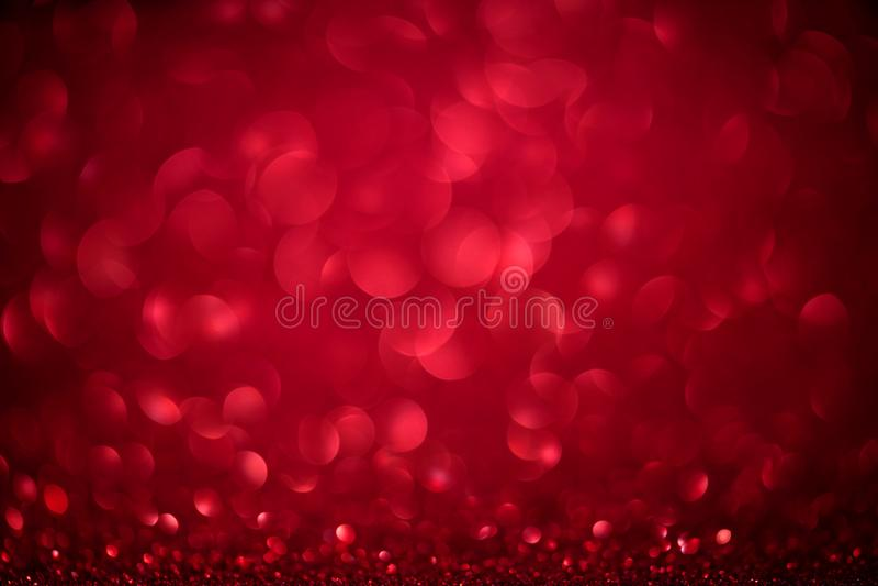 Czerwony bokeh zamazujący round tło z Jaskrawymi błyskotliwość światłami dla walentynek kobiet lub dnia dnia, 8 marsz Defocused p zdjęcie stock