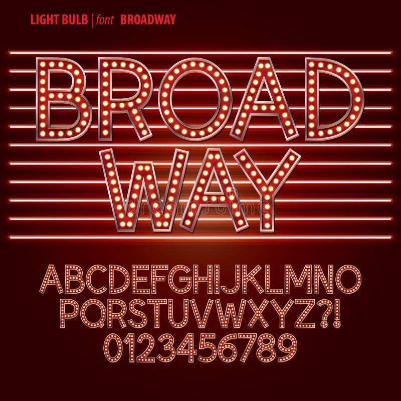 Czerwony Broadway żarówki abecadło i cyfra wektor ilustracja wektor