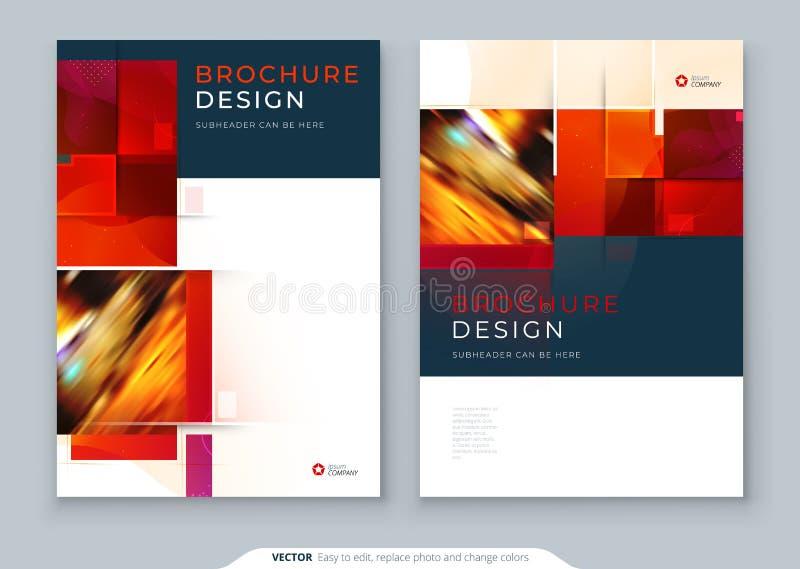 Czerwony broszurka okładkowego szablonu układu projekt Korporacyjnego biznesu sprawozdanie roczne, katalog, magazyn, ulotki mocku ilustracja wektor