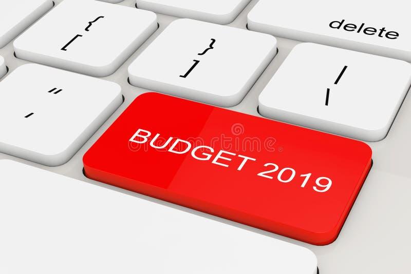 Czerwony budżeta 2019 klucz na Białej pecet klawiaturze świadczenia 3 d royalty ilustracja