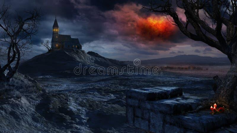 Czerwony burzowy niebo nad osamotnionym kościół royalty ilustracja