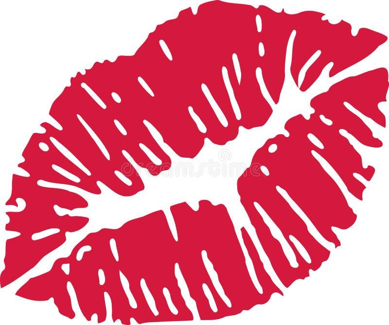 Czerwony buziaka usta ilustracja wektor