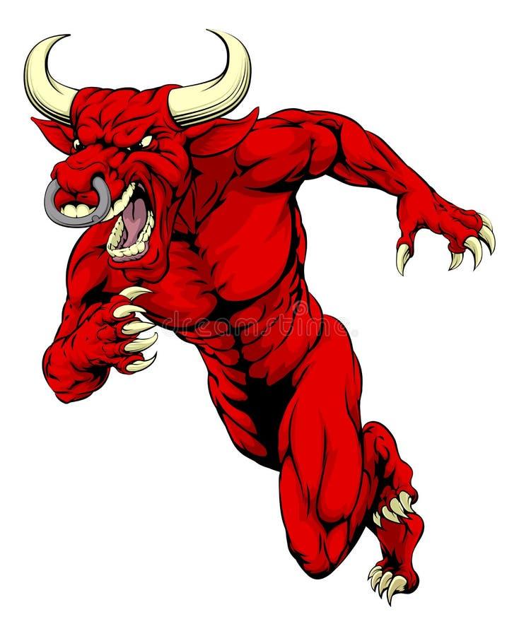 Czerwony byk maskotki bieg ilustracja wektor