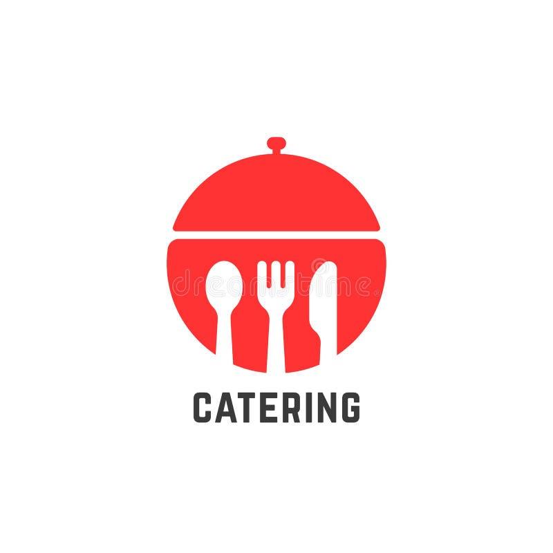 Czerwony catering usługa logo odizolowywający na bielu royalty ilustracja