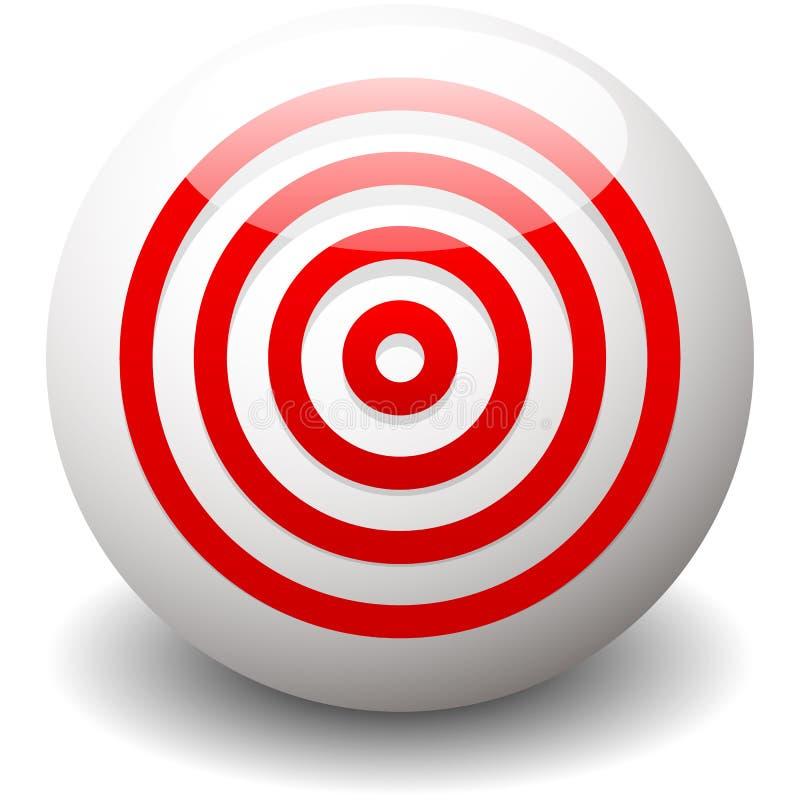 Czerwony cel, bullseye, dokładność, precyzi ikona - Koncentryczny circ royalty ilustracja