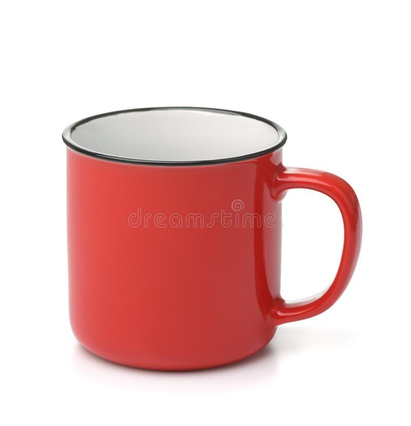 Czerwony ceramiczny kubek do kawy zdjęcie royalty free
