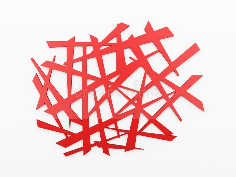 Czerwony chaos siatki tło ilustracja wektor