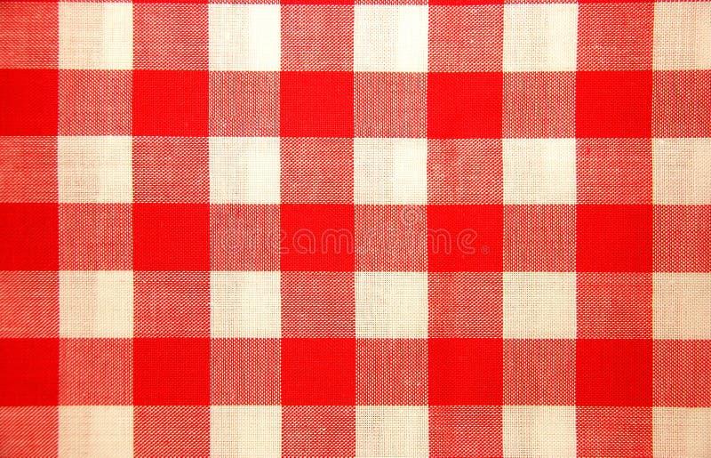 czerwony chequered obrus white obrazy stock