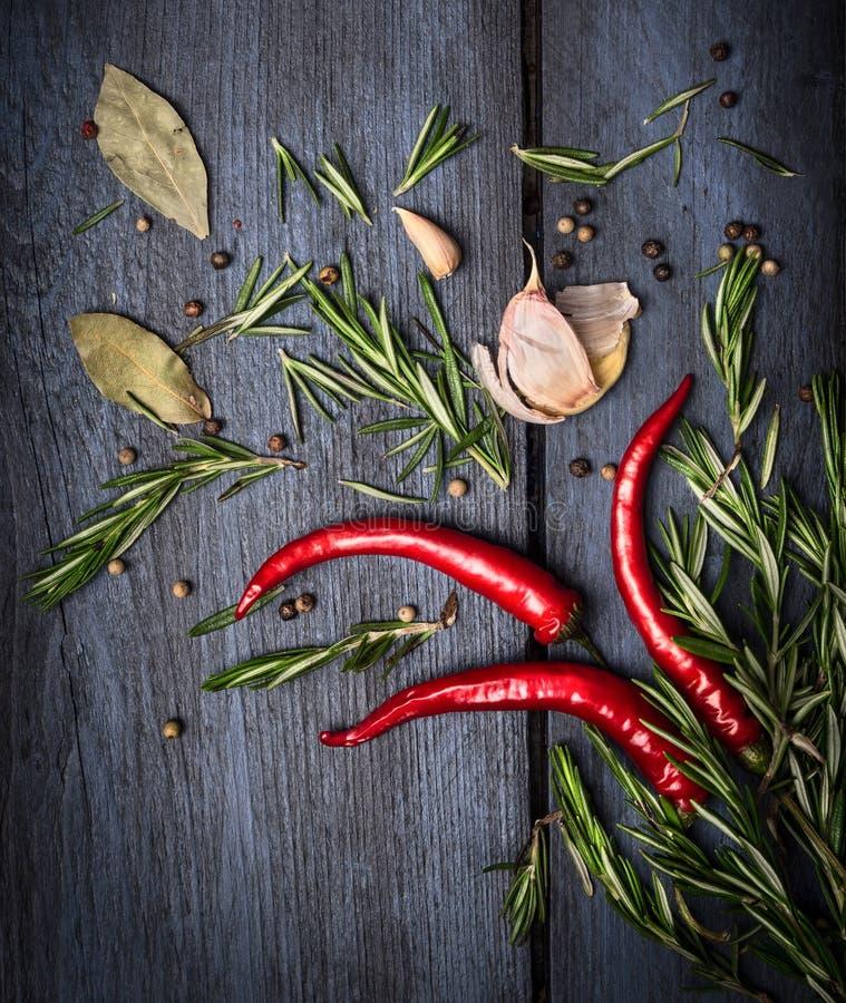 Czerwony chili, rozmaryny i pikantność na starym błękitnym drewnianym tle, obraz royalty free