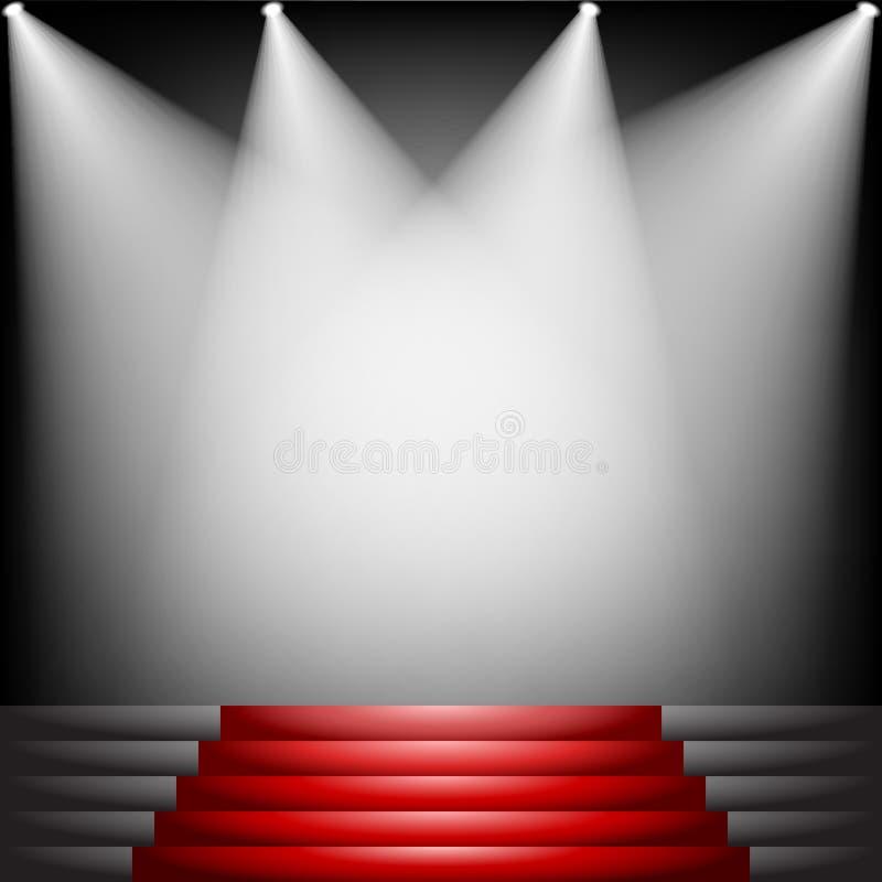 Czerwony chodnik i schodki ilustracja wektor
