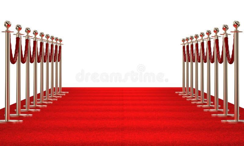 Czerwony chodnik na bielu royalty ilustracja