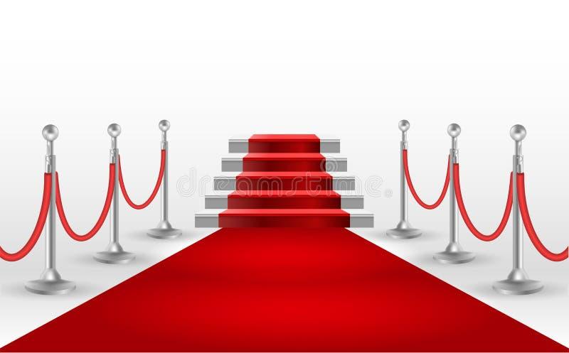 Czerwony chodnik z białym schodkiem EPS10 ilustracji