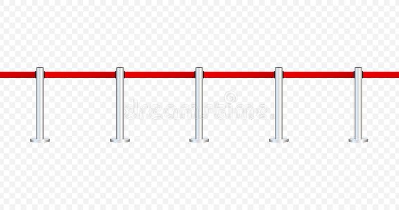 Czerwony chodnik z czerwonymi arkanami na z?otych k?onicach Wy??czny wydarzenie, filmu premiera, gal?wka, ceremonia, nagradza poj ilustracji