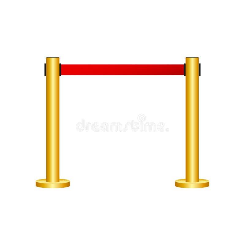Czerwony chodnik z czerwonymi arkanami na z?otych k?onicach Wy??czny wydarzenie, filmu premiera, gal?wka, ceremonia, nagradza poj royalty ilustracja