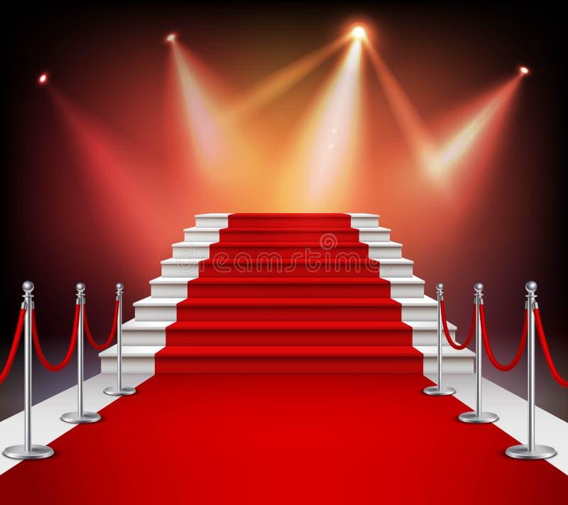 Czerwony chodnik z schodkami ilustracji