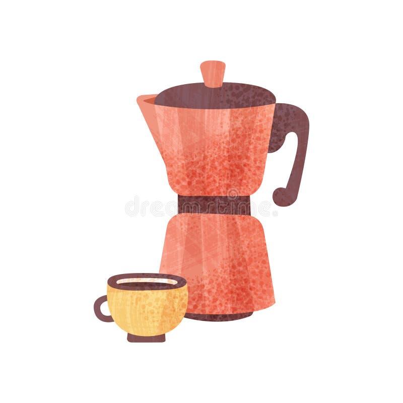 Czerwony coffeepot i filiżanka świeża kawa z teksturą gorący napój smaczny napój Płaski wektor dla plakata lub sztandaru royalty ilustracja
