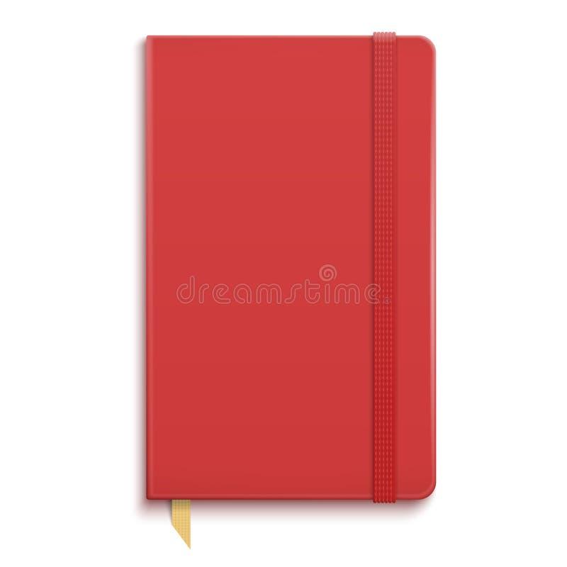 Czerwony copybook z elastycznym zespołem. royalty ilustracja