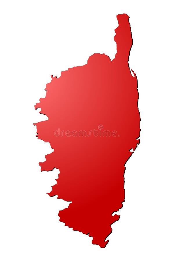 Czerwony Corsica mapy wektor ilustracja wektor