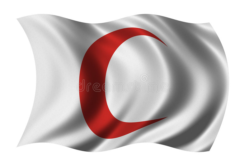 czerwony crescent bandery ilustracji