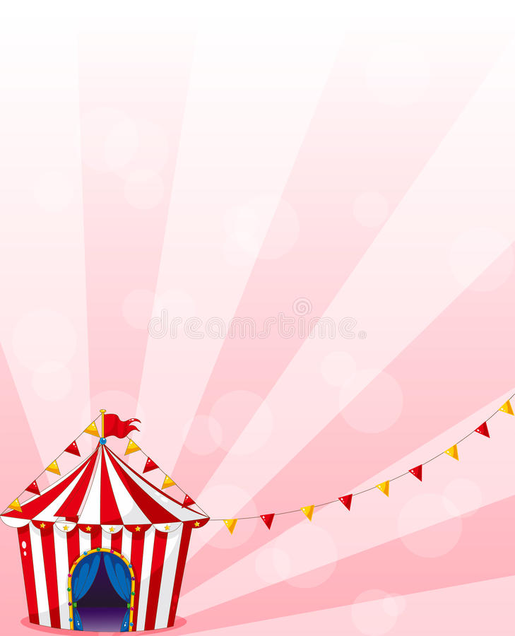 Czerwony cyrkowy namiot z sztandarami ilustracji