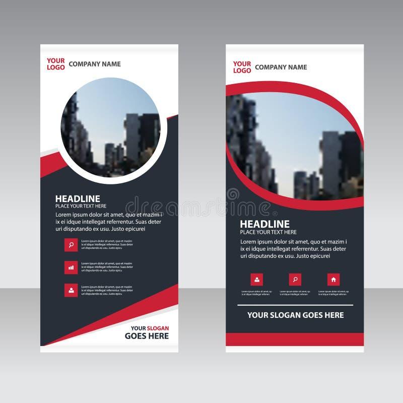 Czerwony czarny abstrakcjonistyczny Biznesowy Stacza się Up sztandaru projekta płaskiego szablon ilustracja wektor