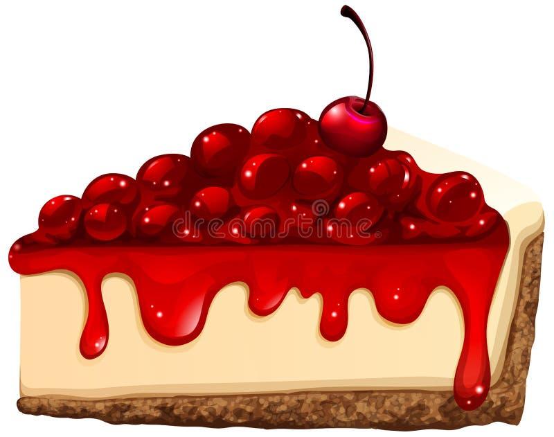 Czerwony czereśniowy cheesecake ilustracji