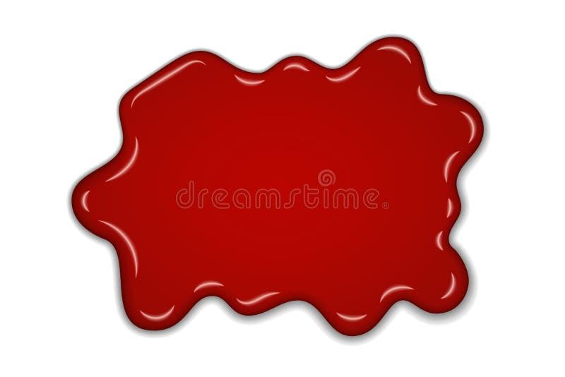Czerwony czereśniowy pluśnięcia confiture Jagodowego słodkiego dżemu punktu odosobniony biały tło Kapinosy płynie w dół plamę 3D  ilustracja wektor
