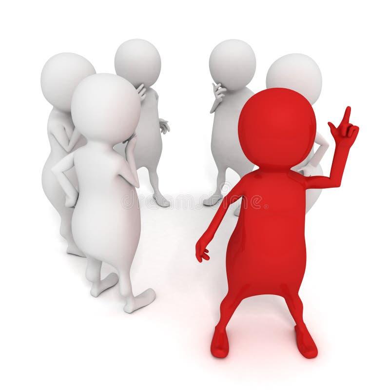Czerwony 3d indywidualny mężczyzna z dobrym pomysłem dla drużynowego sukcesu ilustracji