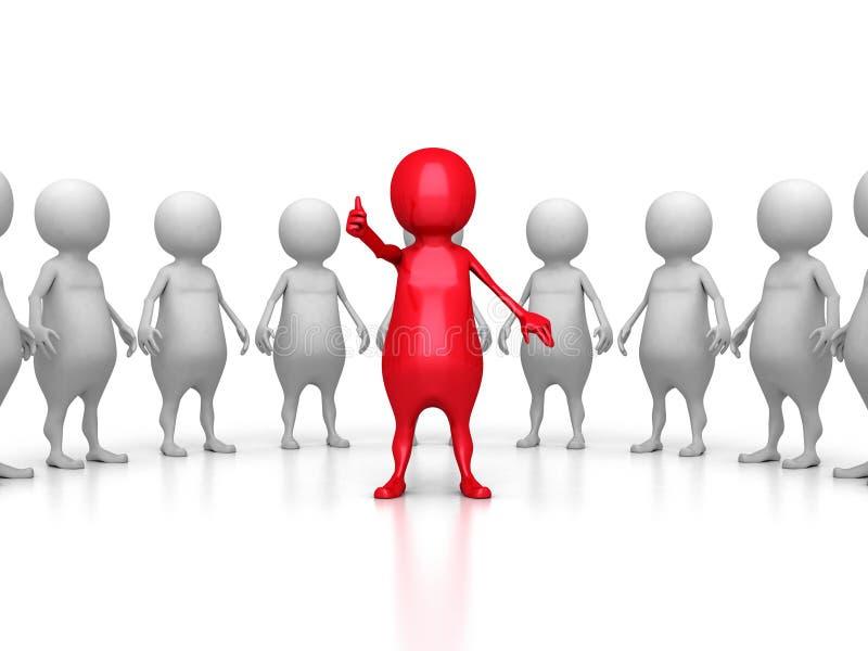 Czerwony 3d lider ampuły drużyny grupa przywódctwo pracy zespołowej pojęcie ilustracja wektor