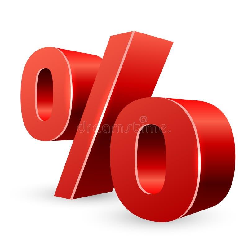 Czerwony 3D procentu znak ilustracji